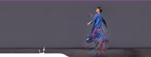 "Geometric maxi dress ""Octahedron"" in motion. Dark blue. Beautiful dancing girl."