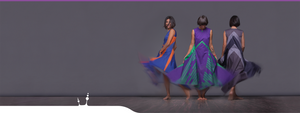"Movement and sporting style in geometric dress ""Wingbeat"" Three beauties in gray blue and violet."