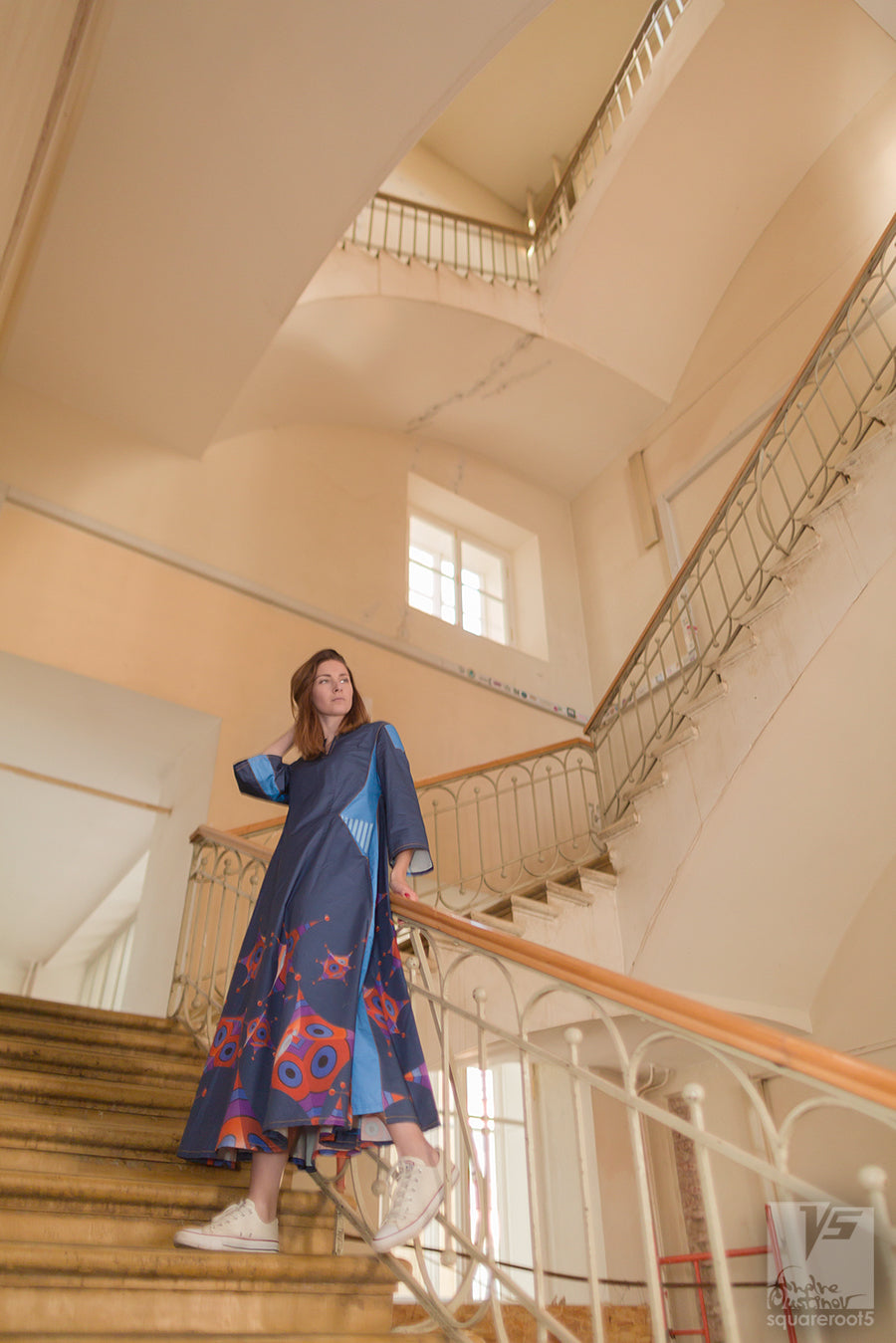 Dark blue long dress. Organic avant-garde clothes with geometric pattern. stairway