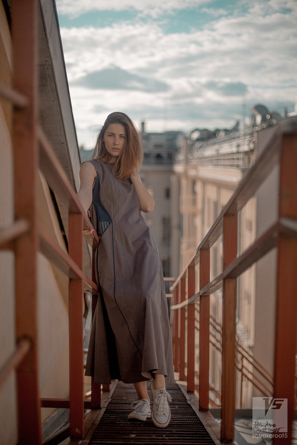 "Experimenta ultramarine long dress ""Octahedron"" with long sleeves. Organic avant-garde clothes. stairway"