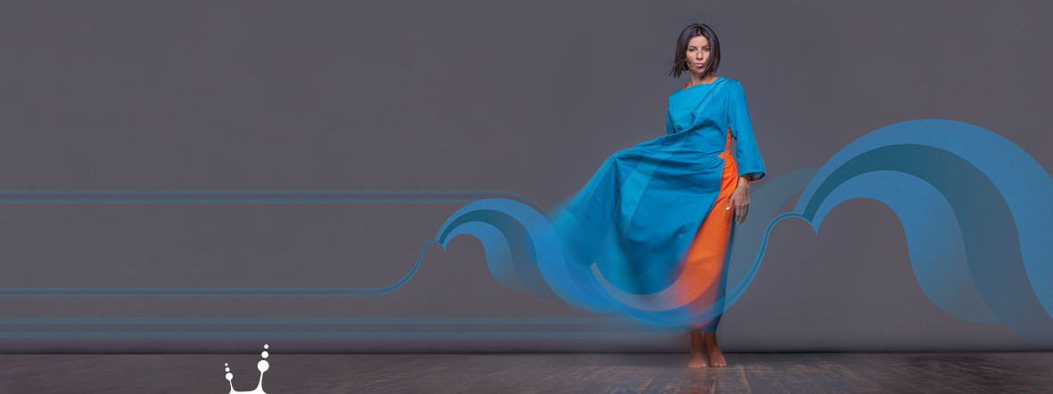 "Dress ""Water"" Collection Header. Squareroot5 wear 2018 Designer dresses for creative women"""