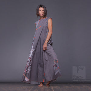 "Long cotton dress ""Atlantis"", model ""Grey Cosmic""  With avant-garde and colorful print"