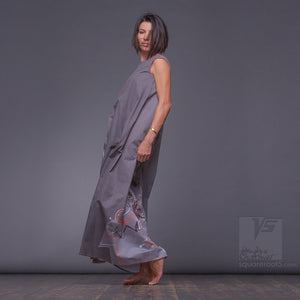 Asymmetrical long maxi summer grey dress. Unique birthday gifts for her.