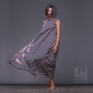 "Avant-garde maxi dress ""Atlantis"". For tall women. Grey color. Abstract Stile"