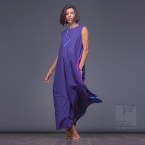 "Long cotton dress ""Atlantis"", model ""Indigo""  With avant-garde and colorful print"