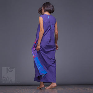 Asymmetrical long maxi summer Indigo dress. Unique birthday gifts for her.