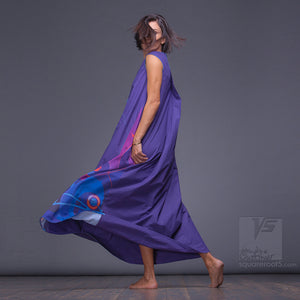 Experimental asymmetrical maxi Indigo dress with abstract pattern by Squareroot5 wear