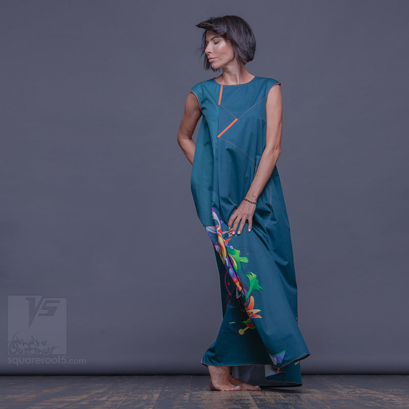 "Long cotton dress ""Atlantis"", model ""Emerald Cosmic""  With avant-garde and colorful print"