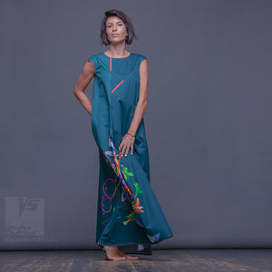 Unusual bright long ladies dress Innovation fashion. Dress for creative women.