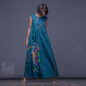 Experimental asymmetrical maxi dress with abstract pattern by Squareroot5 wear