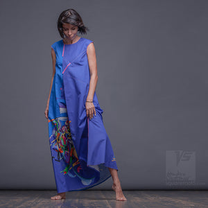 "DRESS ""ATLANTIS"" MODEL ""BC"" Light-Blue Cerulean COSMIC by Squareroot5 wear"