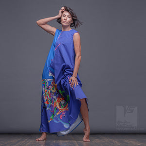 "Long dress ""Atlantis"". Cerulean. Designer dresses for creative women."