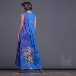 Experimental design blue-cerulean dress with geometric pattern. For tall women