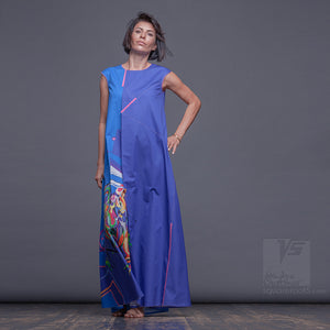 Cerulean long maxi dress with Asymmetrical aesthetic. Birthday gifts for her.