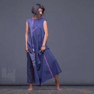 Unusual gift idea. Experimental maxi ultramarine dress with abstract pattern.