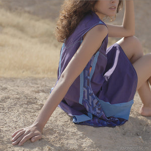Unusual violet dancer dress with short sleeves by Squareroot5 wear
