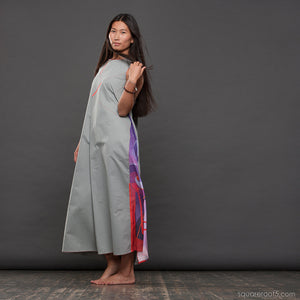 "Long cotton dress ""Atlantis"", model ""Snow""  With avant-garde and colorful print"