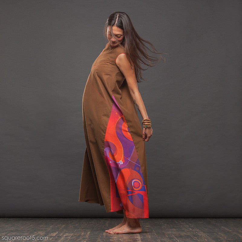 "LONG OCHRE COTTON DRESS  ""ATLANTIS""  model ""FIRE"" by Squareroot5"