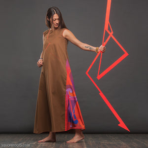 "Unusual wrap around avant garde ""Fire"" dress. Suitable for expecting mothers"