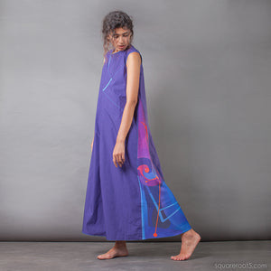 Indigo long dress with Asymmetrical aesthetic. Birthday gifts for her.