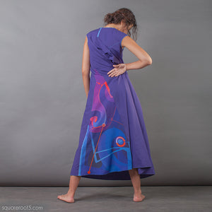 Unusual wrap around avant garde Indigo dress. Suitable for expecting mothers