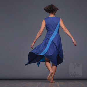 "Light, avant-garde summer dress ""Dolphin"". Ocean and sky colors. Blue."
