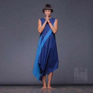 "Experimental unusual and asymmetrical ultramarine-blue dress ""Dolphin""."
