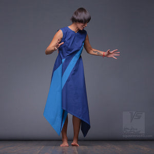 "Uncommon women clothes. Ultramarine-blue dress ""Dolphin"""