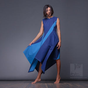 Asymmetrical, futuristic summer party dress