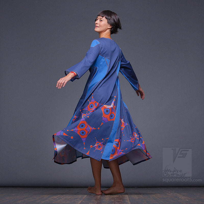 "DRESS ""OCTAHEDRON"" MODEL ""LBO"" LONG SLEEVES BLUE ORANGE by Squareroot5"