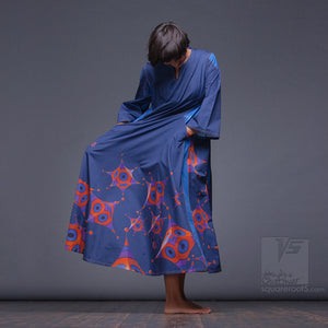 "Experimenta ultramarine long dress ""Octahedron"" with long sleeves. Organic avant-garde clothes."