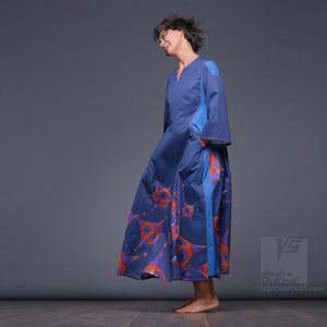 Dark blue long dress. Organic avant-garde clothes with geometric pattern