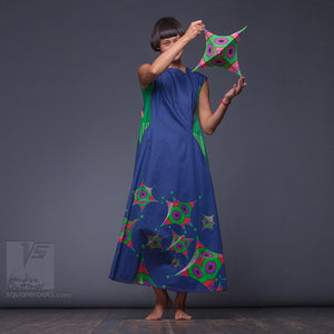 "Long party dress ""Octahedron"". Dark-blue and green. Designer dresses for creative women."