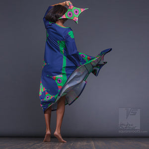 Long sleeves ultramarine dress with geometric aesthetic. maxi dress for dance