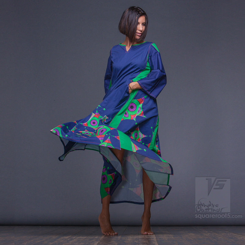 "DRESS ""OCTAHEDRON"" MODEL ""LBG"" LONG SLEEVES BLUE-GREEN by Squareroot5"