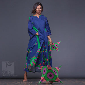 Unique long summer dress for tall women with futuristic design