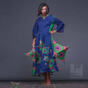 Experimental Long dark-blue dress with geometric design. Unique birthday gifts for her.