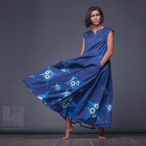 "Avant garde and geometrical dress ""Octahedron"". Dark-blue and green. Designer dresses for creative women."