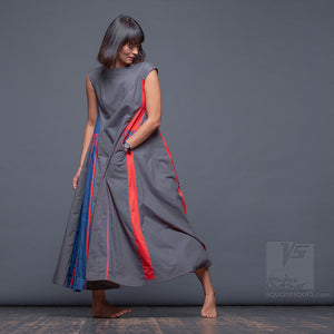 "Long avant-garde dress ""Revolution"", model SRB ""Short Red-Blue"" Designer dresses for creative women by Squareroot5 wear"
