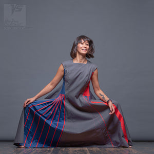 "Asymmetrical long dress  ""Revolution"" with short sleeves. Red, blue and grey. Designer dresses for creative women"