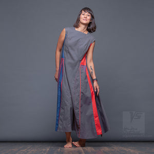 Short sleeve asymmetrical innovation dress by Squareroot5 unusual and bright women clothes.