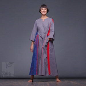 "Long sleeve experimental dress ""Revolution"" by Squareroot5 women clothes. Red and Blue"