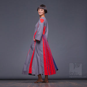 "Long avant-garde asymmetrical dress ""Revolution"" with eccentric design."