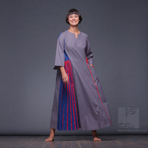 Long sleeve asymmetrical innovation dress by Squareroot5 women clothes.