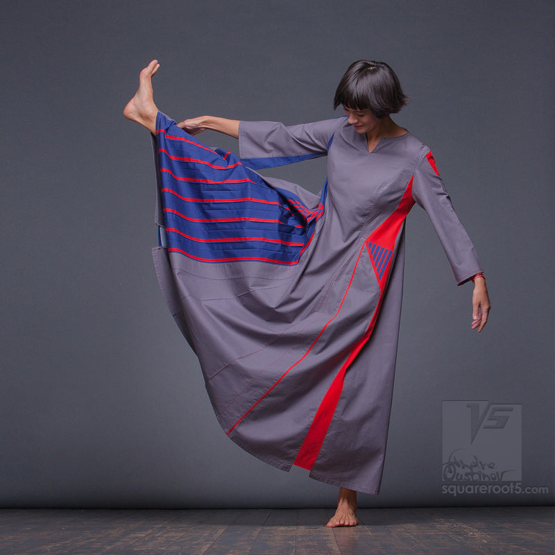 "Long avant-garde dress ""Revolution"", model ""Red Blue"" Designer dresses for creative women by Squareroot5 wear"