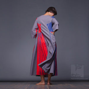 "Futuristic and non-traditional long semi pleated dress ""Revolution"" for her. It's a combination of simplicity and courage, achromaticity and color."