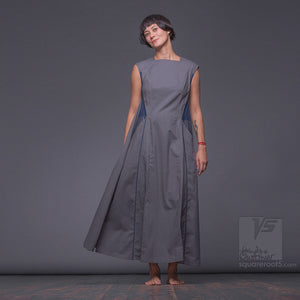 Achromatic ascetic dress. Geometrical  bright design dress for creative women.