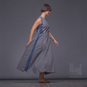 Grey dress with futuristic design. Strict avant garde dress by Squareroot5 fashion