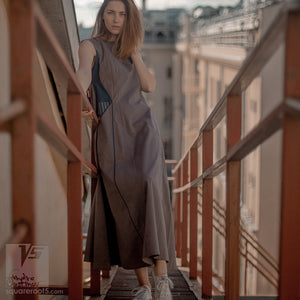 Long achromatic ascetic dress. Geometrical design dress for creative women. Alternative fashion