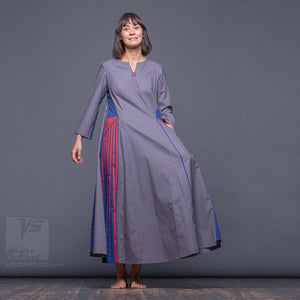 Long sleeve asymmetrical innovation dress by Squareroot5 women clothes. Blue. Uncommon semi pleated dress